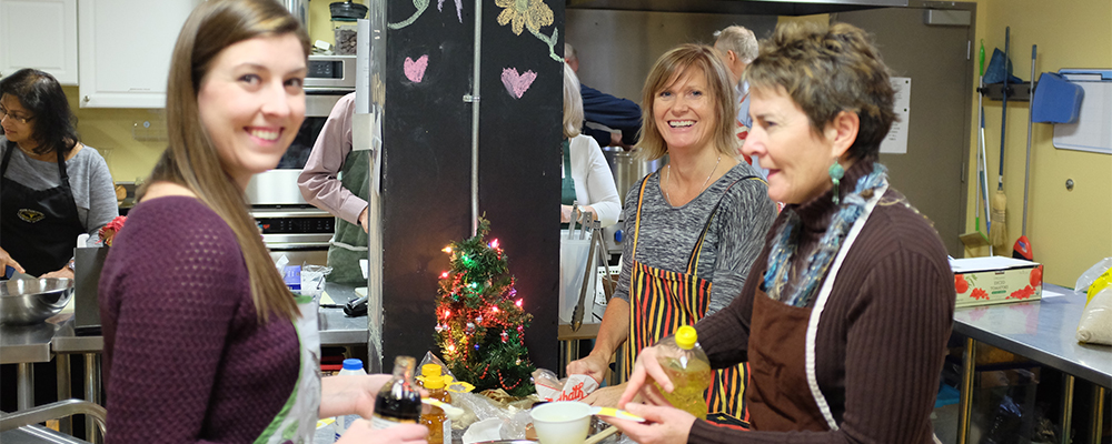 Cassie Van Tol, Alison Rae and Jane Baird of the Business Sherpa Group at the Parkdale Food Centre