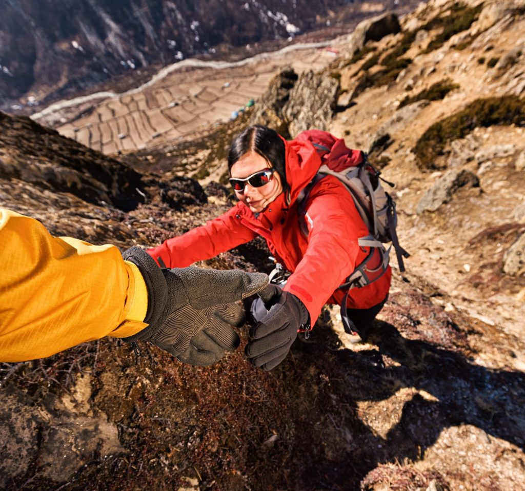 Woman climbing in Mount Everest National Park, Nepal